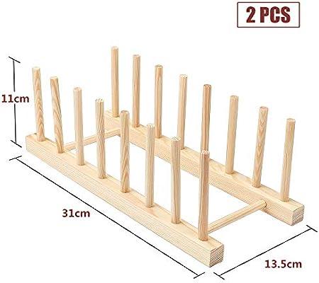 Bambusregal K/üche Holz Bambus f/ür Aufbewahrung CD Geschirr Buch Weinglas Abtropfgestell Abtropfgestell Teller St/änder Coolty 2 St/ück Tellerst/änder