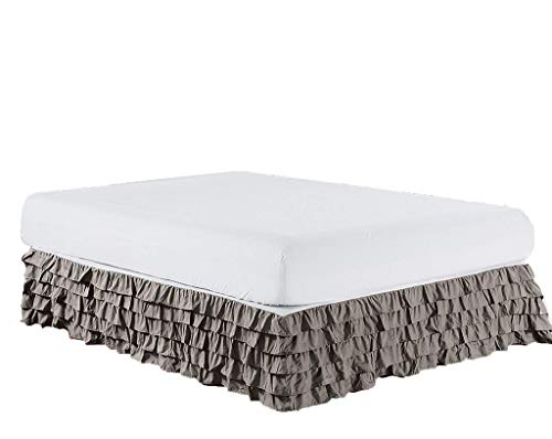 Meraki ! Waterfall Style Multi Ruffled Bed Skirt with 13 Inch Drop Length (King Size, Solid Ash Grey) - 1500 Series Brushed Microfiber Dust Ruffle ()