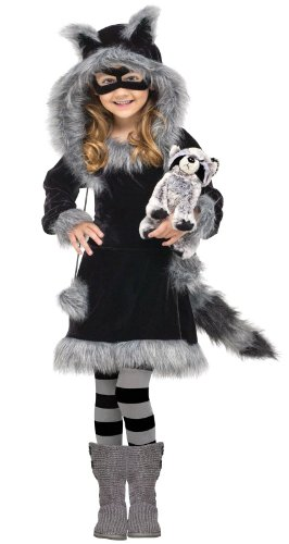 Fun World Costumes Baby Girl's Sweet Raccoon Toddler Costume, Black/Grey, Small (3T-4T)