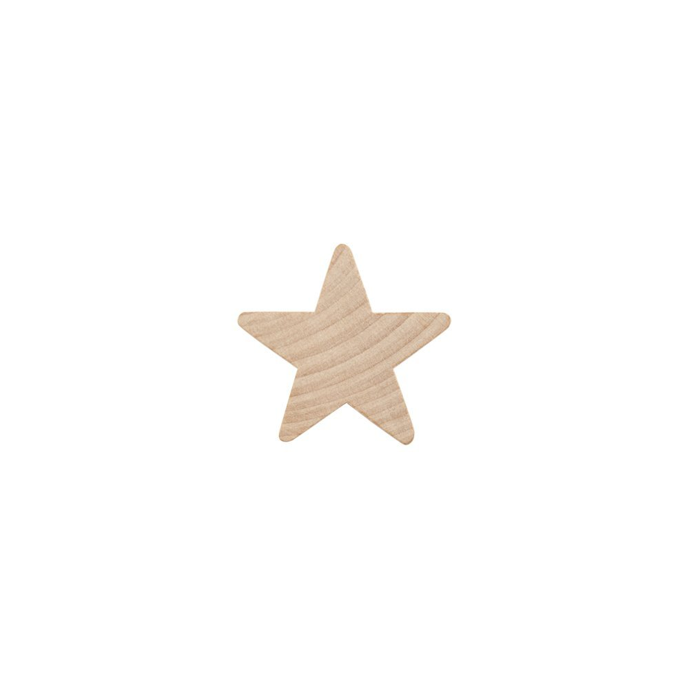 "1"" Wood Star, Natural Unfinished Wooden Star Cutout Shape (1 Inch) - Bag of 100"