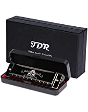 JDR Harmonica,10 Holes 20 Tones Blues Harmonica Key of C,With 1mm Plate Structure For Beginners, Kids, Musician, Suitable For Any Occasion, Like Blues, Folk, Jazz and Pop