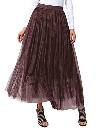 DittyandVibe Ladies Tulle Skirt Holiday Flowy A-Line Gauze Brown Size 10-16