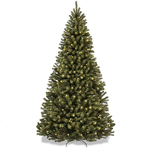 7.5ft Pre-Lit Spruce Hinged Artificial Christmas Tree w/ 550 UL-Certified Incandescent Warm White Lights, Foldable Stand - Green ()