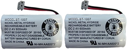 New! Genuine Uniden BBTY0651101 BT-1007 NiMH 600mAh DC 2.4V Rechargeable Cordless Telephone Battery (2-Pack) ()