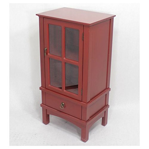 Contemporary Collection Cabinet (Heather Ann Creations The Vivian Collection Contemporary Living Room Wooden Single Paned Glass Door Wood Storage Organizer with Drawer and 2 Shelves, Red)