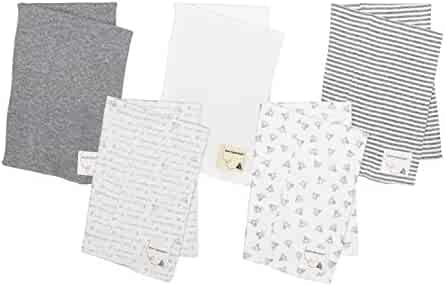 Burt's Bees Baby - 5 Pack of Burp Cloths, 100% Organic Cotton (1 Cloud, 1 Solid Color, 1 Honey Bee Print, 1 Stripe, 1 Alphabet Bee Print, Heather Grey)