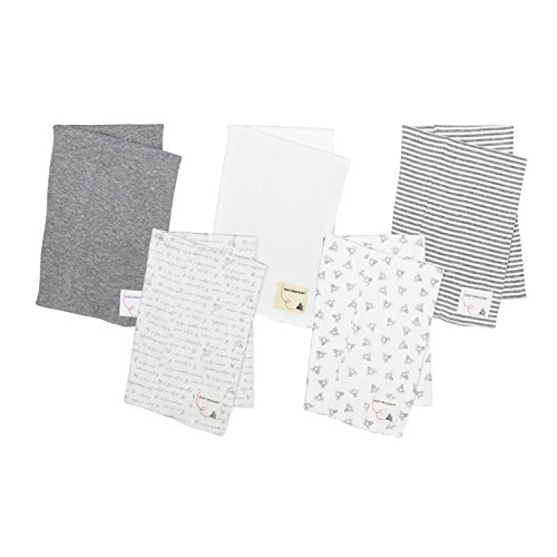 Rag Clothing Store (Burt's Bees Baby - 5 Pack of Burp Cloths, 100% Organic Cotton (1 Cloud, 1 Solid Color, 1 Honey Bee Print, 1 Stripe, 1 Alphabet Bee Print, Heather Grey))
