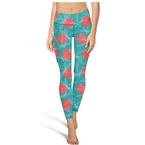(Yoga Pants for Women for Womens Capri Leggings Dragonfly Rose Petal Fit Pockets Tight Pants)