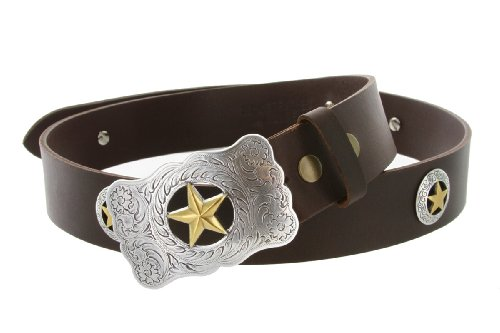 [Big and Tall Mens Texas Ranger Star Western Cowboy Belt with Matching Conchos and Oil Tanned Leather Strap (56 Brown)] (Big Cowboy Belt)