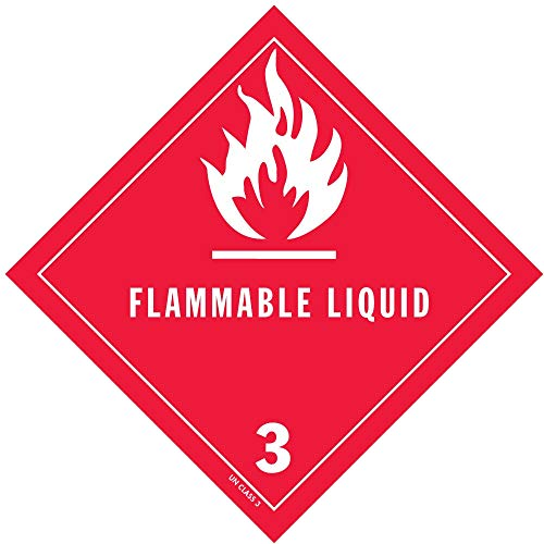 """D.O.T. Flammable Liquid Labels 4"""" X 4"""". 1 roll of 500, used for sale  Delivered anywhere in USA"""