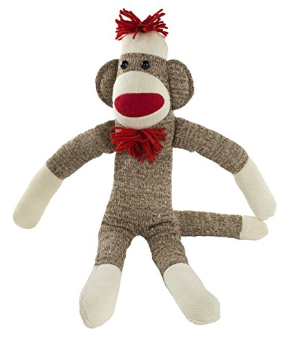 Maven: Adorable Sock Monkey with Classic Brown Color, Red Lips, Pom Pom Hat, Bowtie, and White Socks – No Rough Edges – Perfect for Snuggling – Great Gift for Ages 3 and Up – 20 Inches Long -