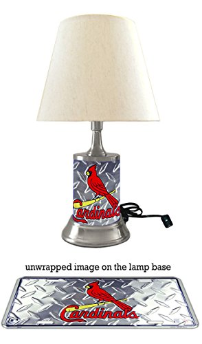(JS Table Lamp with Shade, Your Favorite Team Plate Rolled in on The lamp Base, Base Wrapped with Diamond Metal Plate, SLC, MLB)