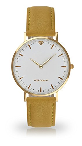 YVES CAMANI Amelie Women's Wrist Watch Quartz Analog Yellow Leather Strap White Dial YC1097-B-745