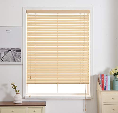 Faux Wood Horizontal Blinds,Plastic PVC Window Blinds and Shades Kitchen Oil Resistant Toilet Bathroom Waterproof Roller Blinds Any Size-A 81x162cm(32x64inch)