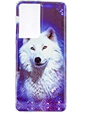 Miagon Luminous Effect Back Case Cover for Samsung Galaxy S21 Ultra,Noctilucent Glow in the Dark Green Soft Slim TPU Gel Flexible Bumper,White Wolf