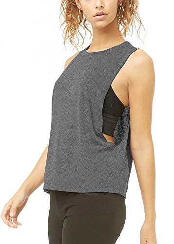 Bestisun Womens Cute Activewear Muscle Tanks Sexy Fitness Womens Tank Top Gym Exercise Lightweight Clothes Running Dancing Teen Girls Shirts Workout Yoga Clothing Heather Gray L