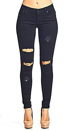 a195e5b8a Wisptime Jeans Déchirés Slim pour Femmes Pantalons Élastiques Pantalons  Boyfriend