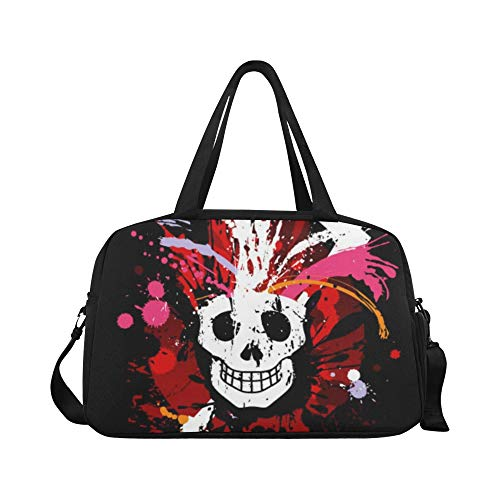 Popular American Rock Head Skull Custom Large Yoga Gym Totes Fitness Handbags Travel Duffel Bags With Shoulder Strap Shoe Pouch For Exercise Sports Luggage For Girls Mens Womens Outdoor
