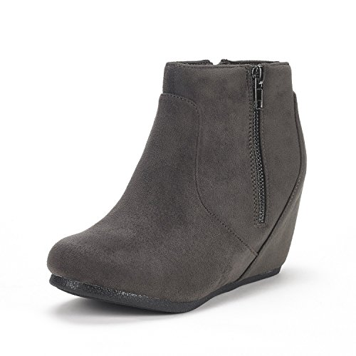 DREAM PAIRS Women's NARIE-New Grey Suede Low Wedges Ankle Boots Size 7.5 M US from DREAM PAIRS