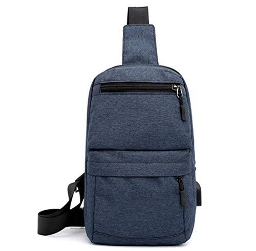 Tissu Élégant Sport Sac Lounayy Respirant Épaule Imperméable Loisirs color Noir One Poitrine Usb Bleu Oxford Messenger Size Randonnée Charge Mode De Size 5q6pz8q