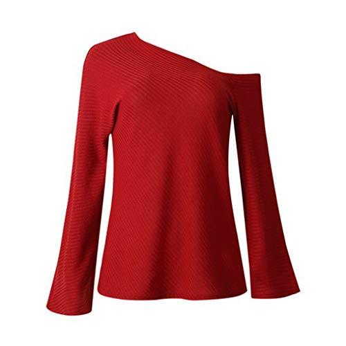 Rosso Per Signora Cime Camicetta Irregolare Di Hulky Campana Vendita Moda shirt Maglia Off Manica Le Felpa Spalla Donne Liquidazione Tunica T E9WHI2DY