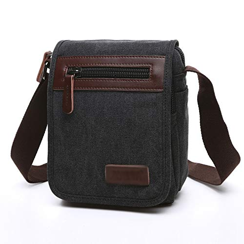Men Canvas Bag Casual Travel Bolsa Masculina Men's Crossbody Bag Messenger Bags Large Capacity,Black small -