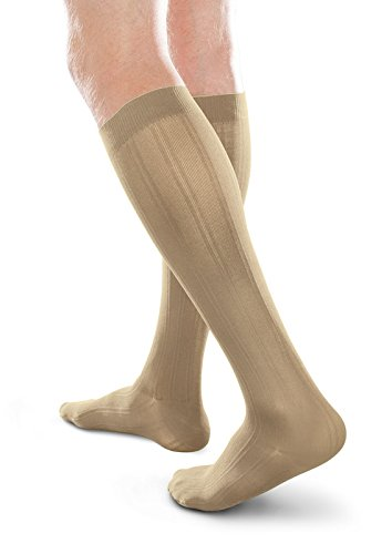 Ease Opaque Men's Trouser Socks with Moderate (20-30mmHg) Compression (Khaki, XL Short) -