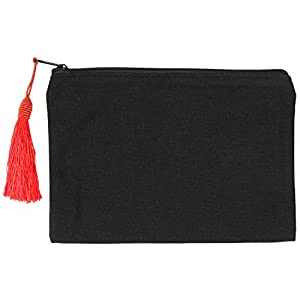 Zipper Canvas Pouch | Perfect Pencil Case |Travel Make Up Bag, Cell Phone Accessory Organizer Fashion Clutch | Black with Red Tassel