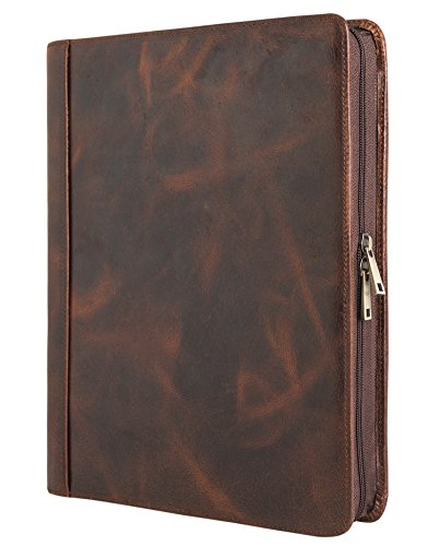 Handmade Vintage Leather Padfolio Portfolio Case Zippered Business Organizer Tablet Folio Folder with Letter Size Notepad, Crazy Horse Leather, Gift for Women & Men ()