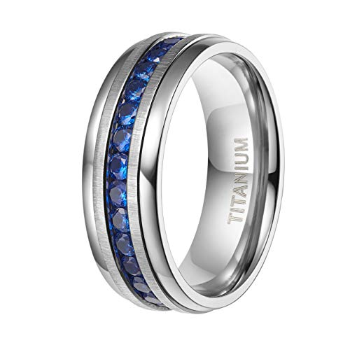 TIGRADE 8MM Man's Titanium Rings Wedding Bands Cubic Zirconia Inlay Size - Sapphire Titanium Bands Wedding