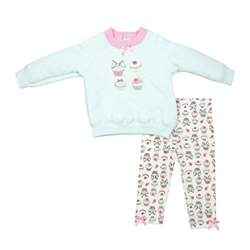 Baby Gear 2Pc Newborn Girls Cupcake Quilted Top & Leggings Set 12-18M Barefoot Leggings