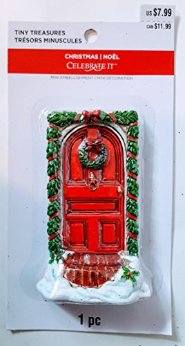 Tiny Treasures 2.5'' x 4.25'' Holiday arched red door with decorative garland and matching wreath hand painted and cast in resin by Celebrate It
