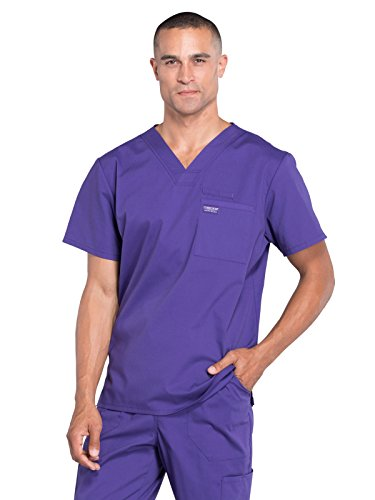 Grape Scrub (Cherokee Professionals by Workwear Men's V-Neck Solid Scrub Top Large Grape)