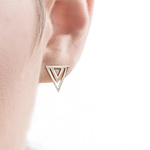 Triangular Womens Ring - Small Stud Earrings, 14k Gold Triangular Geometric Post Earrings, Tribal Style Unique Women's Jewelry, Handmade Designer