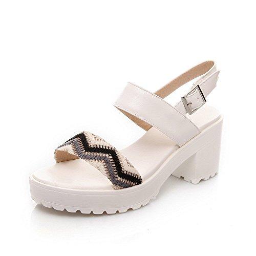 AllhqFashion Women's Buckle Open Toe High Heels Assorted Color Sandals Black FmhBv8kR
