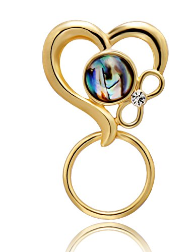 CHUANGYUN 3 Colors Abalone Shell Heart Shaped Strong Magnetic Brooch Eyeglass Holder,Couple Jewelry (Gold) by CHUANGYUN