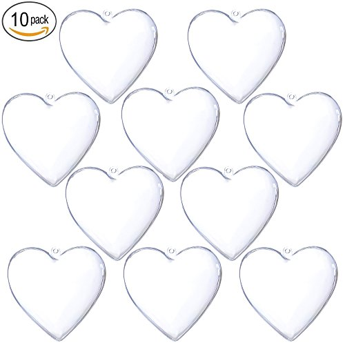 Clear Plastic Fillable Christmas DIY Craft Ball Ornaments 10 pcs 3.94 inch - Shaped Acrylic Clear