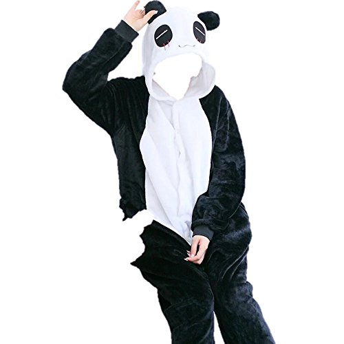 Men Try On Women's Halloween Costumes (AllSome Home Unisex Adult Plush Fleece Onesie Pajamas Halloween Black and White Panda Animal Costume by With Zipper and Buttons)