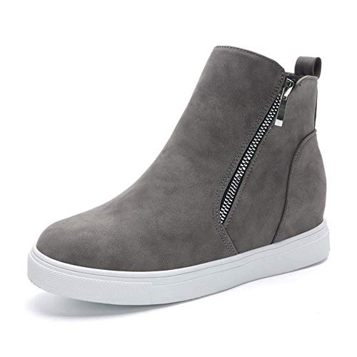 Susanny High Top Platform Wedge Sneakers for Women Ankle Booties Faux Leather Slip On Fashion Sneaker Zipper Casual Shoes Grey 10 B (M) US