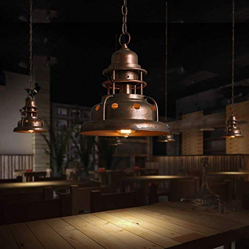 E27 Pendant Lamp Metal Painting Chandelier Vintage Industrial Ceiling Lamp Rustic Dome Lampshade Hanging Light for Living Room Cafe Bar (The Crystal Chandeliers Light Up The Paintings)