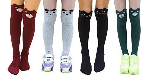 Little Girls 4 Pack Cartoon Knee High Socks Tights (International Dress Up Ideas)