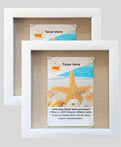 "(2-pack) 8""x8"" White Display Shadow Box Frame w/ Linen Background and 16 Stick Pins - Ready To Hang Shadowbox Picture Frame - Easy to Use - Box Display Frame, Baby and Sports Memorabilia Wedding Baby"