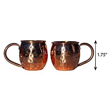 Morken barware - Mini Moscow Mule vasos de chupito taza adornos - juego de 2 - 100% cobre - 2OZ: Amazon.es: Hogar