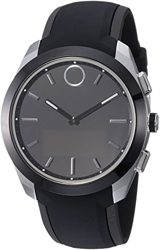 Movado 'BOLD CONNECTED II' Quartz Stainless Steel and Silicone Casual Watch, Color:Black (Model: 3660012) (Mens Black Movado Watch)