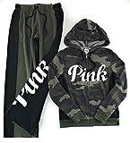 Victoria's Secret Pink Hoodie and Sweat Pants Set Medium Green Camo
