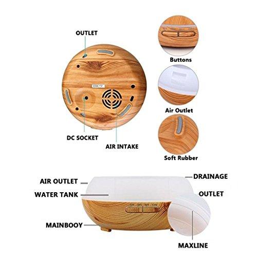 miaomiao Wood Grain Humidifier Office Household Desktop Ultrasound Atomization Diffusion Humidifier 16.816.5cm, b by miaomiao (Image #5)