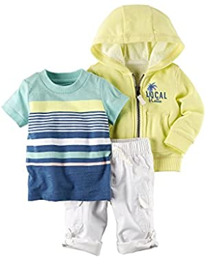 Carter's Baby Boys' 3-Piece Local Cutie Hoodie Shorts Set