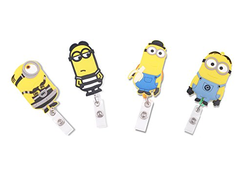 Finex Set of 4 The Minions Badge ID Clip Reel Retractable Holder Office Work Nurse Name Badge Tag Clip On Card Holders Cute - 30 inch Cord Extension -