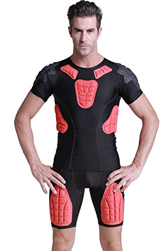 DGYAO Men's Boys Padded Compression Shirt Rib Protector f...