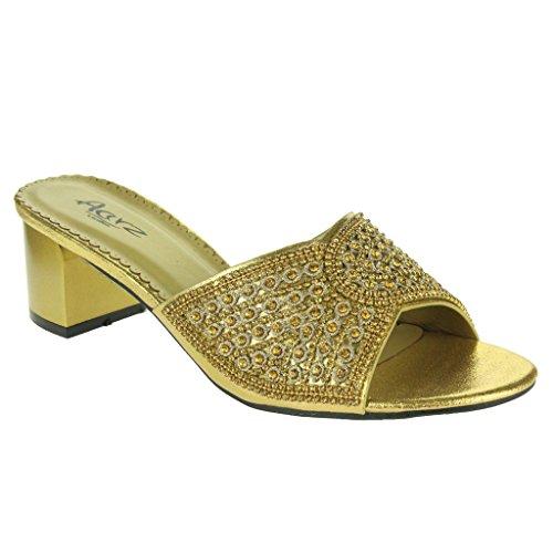 Mujer Señoras Sparkly Diamante Talón medio del bloque Ponerse Noche Boda Fiesta Paseo Sandalias Zapatos Tamaño Oro